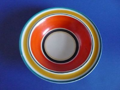 Susie Cooper Gray's Pottery Banded Pattern 7670 Dessert Bowl c1928 #2 (Sold)